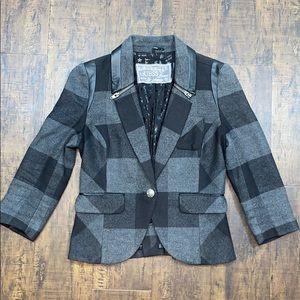 Guess jeans  Plaid flannel blazer w/  faux leather